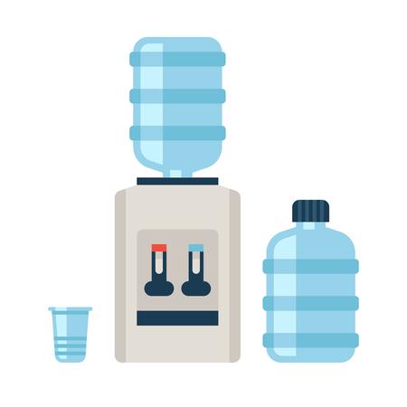 Le refroidisseur d'eau. Rafraîchissement et le bureau de la bouteille, le plastique et liquide. Vector illustration