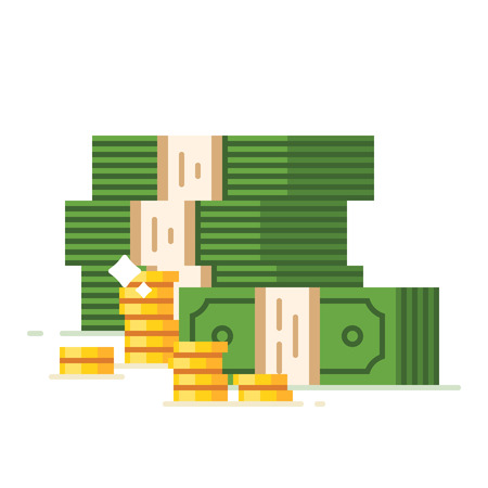 stack of cash: Dollar piles with gold dollar coins. Vector flat illustration.