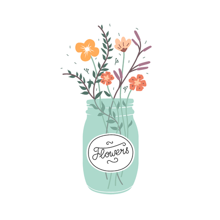Cute bukiet kwiatów w szklanym słoiku. Ilustracja wektora samodzielnie na białym tle.