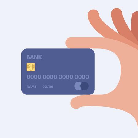 Une main tenant une carte de crédit. Vector illustration. Appartement style design.