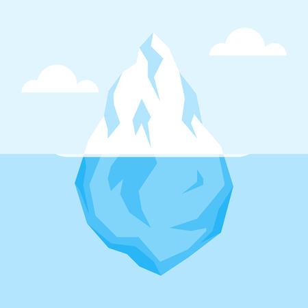 Góra lodowa na wodzie. Antarktyczne krajobraz, ocean, śnieg i lód. Wektor płaskie ilustracji.