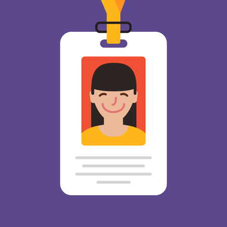 ide: Id card. Vector illustration. Flat design style