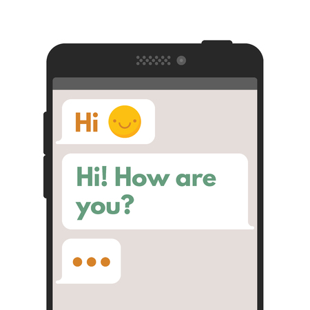 sms: Chatting sms template bubbles. Compose dialogues using samples bubbles. Vector flat illustration isolated on white background.