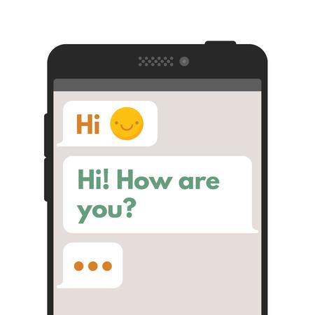 En el chat burbujas plantillas SMS. Componer diálogos utilizando muestras de burbujas. Vector plana ilustración aislado sobre fondo blanco.