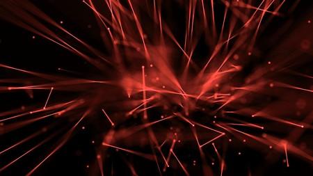 Abstrakte Linien leuchten mit Schärfentiefe rot