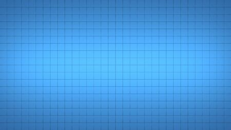 3d render simple straight illustration of squares. Geometric abstract background of blue color. Tile wallpaper