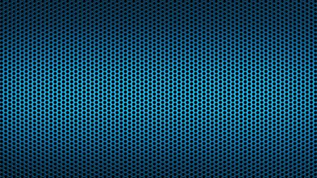 Geometric abstract background of blue color. 3d render of a perforated metal surface with a small circle.