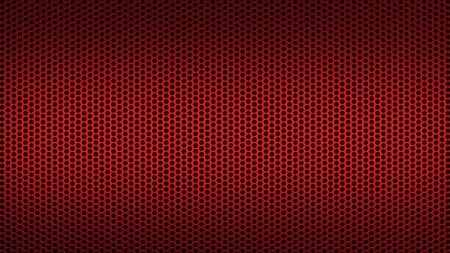 Geometric abstract background of red color. 3d render of a perforated metal surface with a small circle.