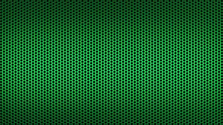 Geometric abstract background of green color. 3d render of a perforated metal surface with a small circle.