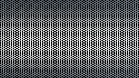 Geometric abstract background of grey color. 3d render of a perforated metal surface with a small circle. 版權商用圖片