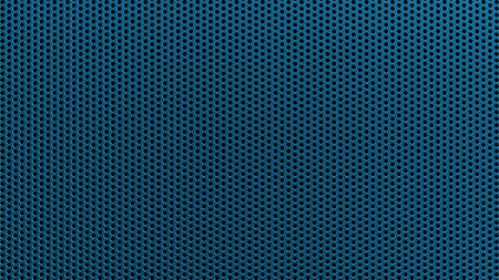 Geometric abstract background of blue color. 3d render of a straight perforated metal surface
