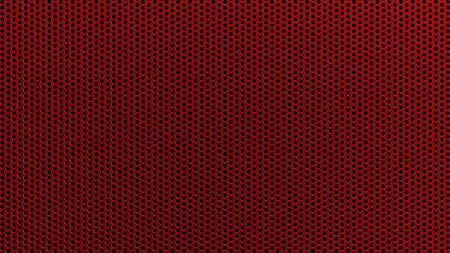 Geometric abstract background of red color. 3d render of a straight perforated metal surface