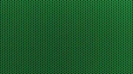 Geometric abstract background of green color. 3d render of a straight perforated metal surface