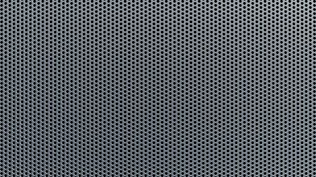 Geometric abstract background of grey color. 3d render of a straight perforated metal surface