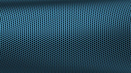 Geometric abstract background of blue color. 3d render of curved perforated metal surface