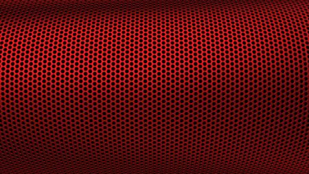 Geometric abstract background of red color. 3d render of curved perforated metal surface