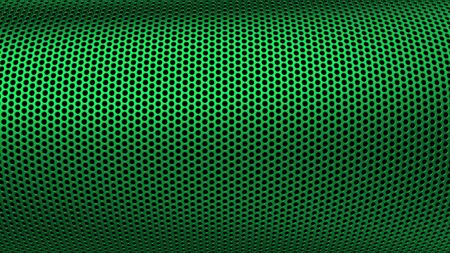 Geometric abstract background of green color. 3d render of curved perforated metal surface