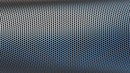 Geometric abstract background of grey color. 3d render of curved perforated metal surface