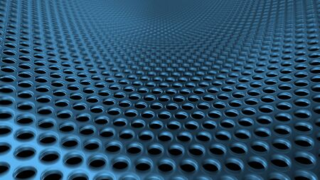 Geometric abstract background of blue from circles. 3D render of a curved perforated metal surface in perspective