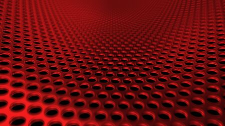 Geometric abstract background of red from circles. 3D render of a curved perforated metal surface in perspective