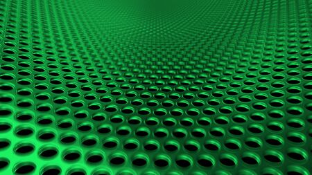 Geometric abstract background of green from circles. 3D render of a curved perforated metal surface in perspective 版權商用圖片