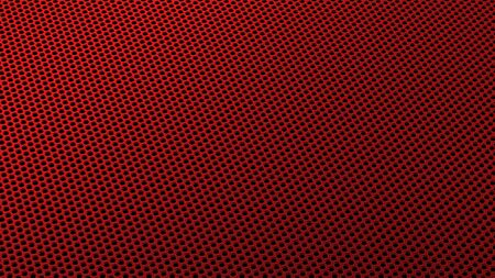 Geometric abstract background of red from circles in isometry. 3D render of a curved perforated metal surface in perspective 版權商用圖片