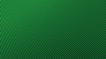 Geometric abstract background of green from circles in isometry. 3D render of a curved perforated metal surface in perspective