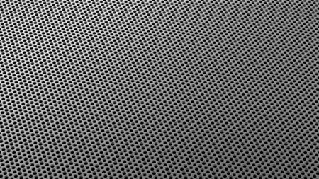 Geometric abstract background of grey from circles in isometry. 3D render of a curved perforated metal surface in perspective