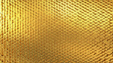 Metallic background gold. Wallpaper precious materials. The surface of the triangles. Illustration 3d visualization