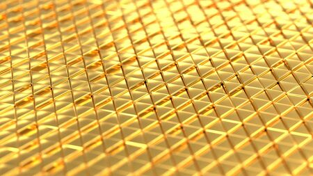 Metallic background gold isometry. Wallpaper precious materials. The surface of the triangles. Illustration 3d visualization 版權商用圖片