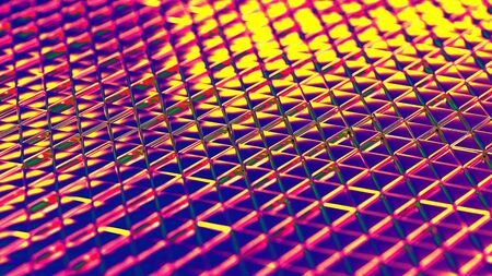 Metallic multicolor background isometry. Wallpaper precious materials. The surface of the triangles. Illustration 3d visualization Reklamní fotografie