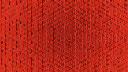 Background made of red plastic triangles. background. Illustration 3d visualization