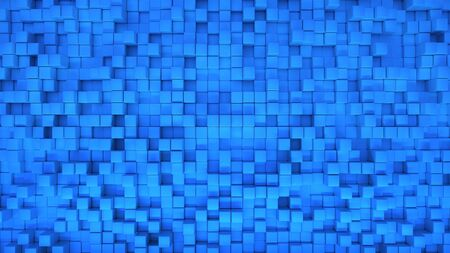 3d render illustration of squares at different levels. Geometric abstract background in blue