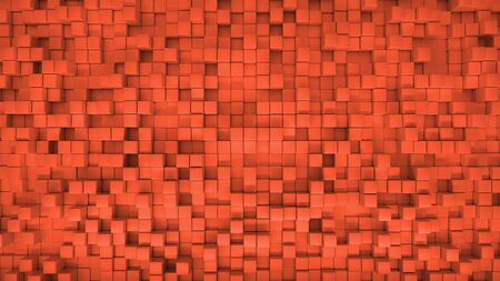 3d render illustration of squares at different levels. Geometric abstract background in red 版權商用圖片