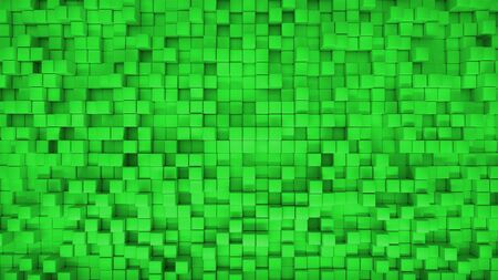 3d render illustration of squares at different levels. Geometric abstract background in green 版權商用圖片