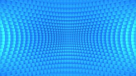 3d render illustration of squares in a distorted space. Geometric abstract background in blue 版權商用圖片
