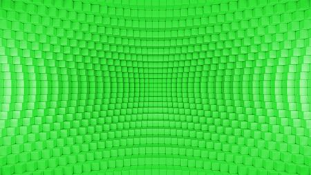 3d render illustration of squares in a distorted space. Geometric abstract background in green