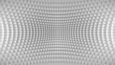 3d render illustration of squares in a distorted space. Geometric abstract background in grey