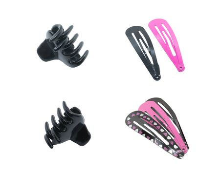 Hair accessories isolated on white. Black Small Size Hair Crab. The composition of the three hairpins. The composition of their two hairpins.