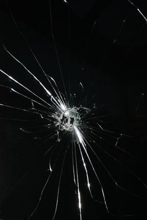 window panes: Broken window Stock Photo