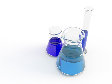 test glass: group of laboratory flasks with colored liquid inside