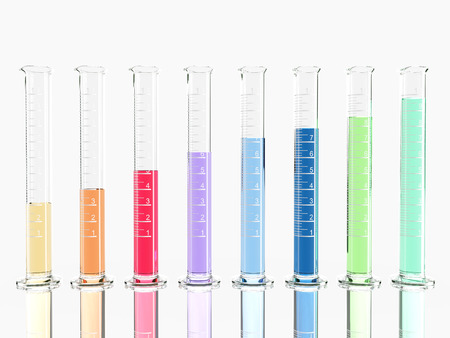 conical: group of laboratory flasks with colored liquid inside