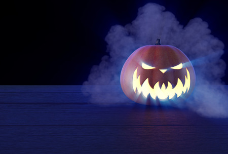 3d scary: Scary Halloween Pumpkin looking through the smoke.