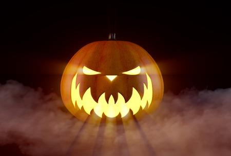 Scary Halloween Pumpkin looking through the smoke.
