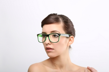 Young crazy nerd woman Stock Photo