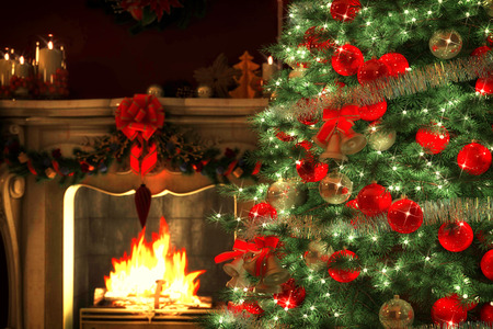 warm: Christmas Tree and Christmas gift boxes in the interior with a fireplace Stock Photo