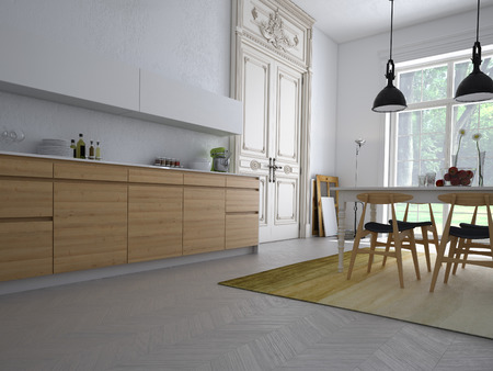 renovated: Modern kitchen in an apartment with table and chairs.