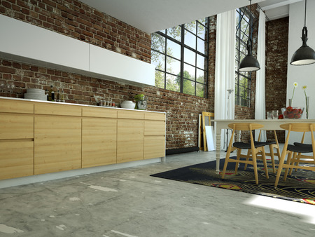 flor: loft kitchen in open space with a brick wall. Stock Photo