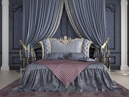 Interior of a classic style bedroom in luxury villa Stok Fotoğraf