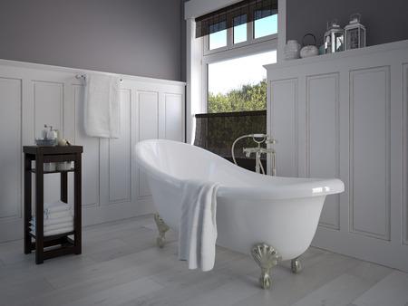 Vintage salle de bain de couleur beige avec un génie sanitaire or Banque d'images - 34045015